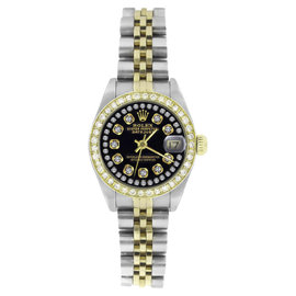 Rolex Datejust 69173 Stainless Steel & 18K Yellow Gold Black String Diamond Dial 26mm Womens Watch
