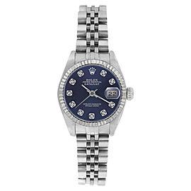 Rolex Datejust 69174 Stainless Steel Blue Diamond Dial 26mm Womens Watch
