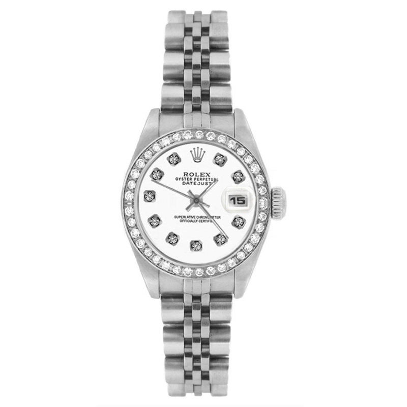 "Image of ""Rolex Datejust 69174 Stainless Steel White Diamond Dial & Bezel 26mm"""