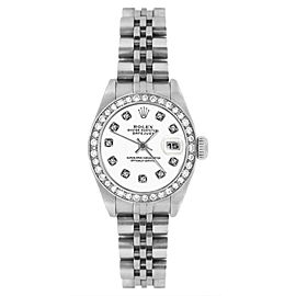 Rolex Datejust 69174 Stainless Steel White Diamond Dial & Bezel 26mm Womens Watch