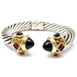 David Yurman Renaissance Sterling Silver 14K Yellow Gold Onyx Cable Bracelet