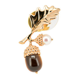 Mikimoto 18K Pink Gold Pearl & Tiger's Eye Pin Brooch