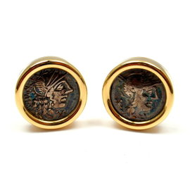Bvlgari Bulgari 18K Yellow Gold Large Ancient Coin Cufflinks