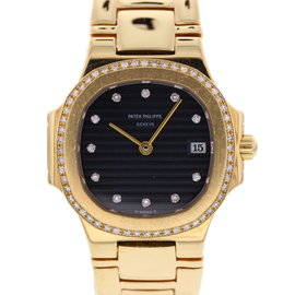 Patek Philippe Nautilus 4700/51 18K Yellow Gold/Diamonds Black Dial Quartz 27mm Womens Watch