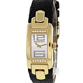 Audemars Piguet Promesse E86280 18K Yellow Gold & Leather Silver Dial Quartz 18mm Womens Watch