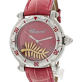 Chopard Happy Sport 28/8455 Stainless Steel & Leather Pink Dial Quartz 39mm Womens Watch