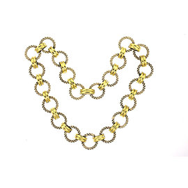 David Yurman 925 Sterling Silver 18K Yellow Gold Cable Link Chain Necklace