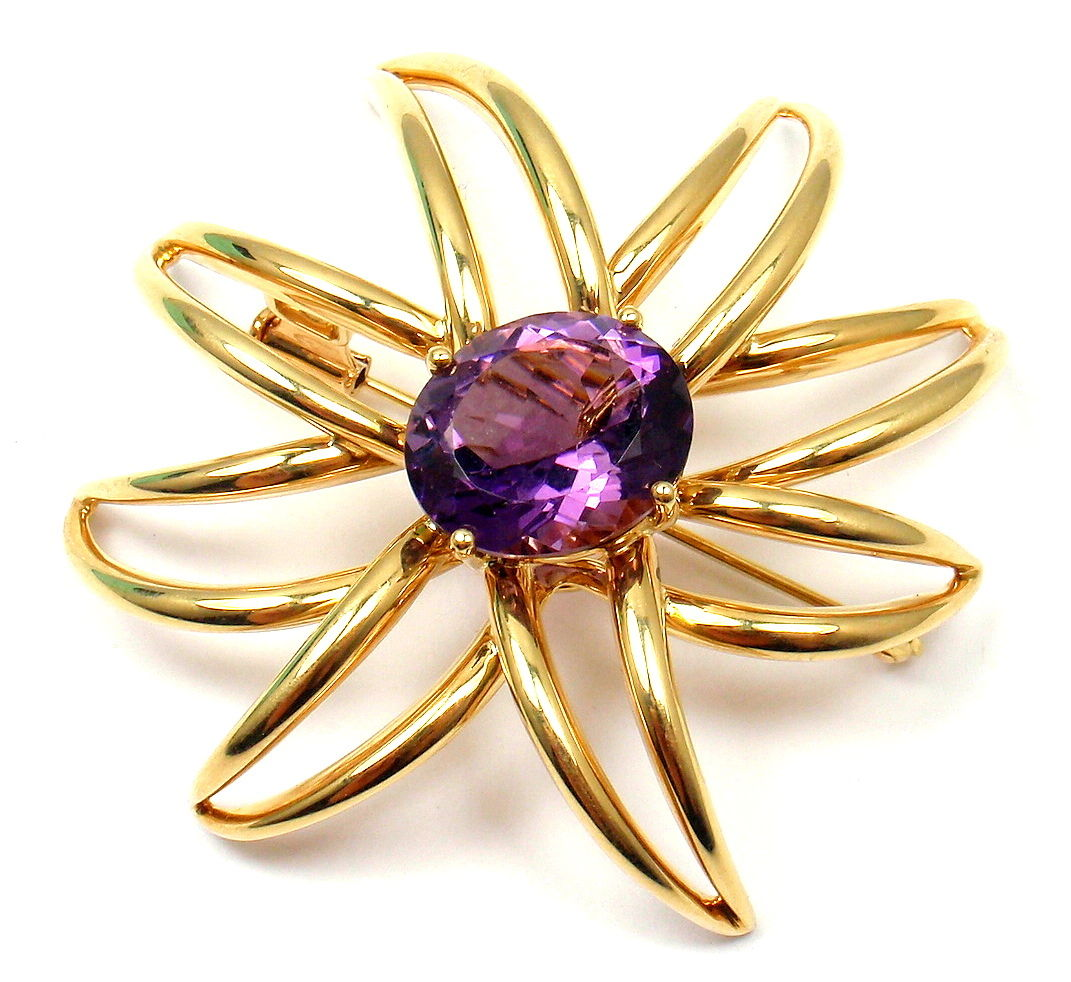 """Image of """"Tiffany & Co. 18K Yellow Gold Large Amethyst Fireworks Brooch Pin"""""""