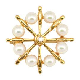 Mikimoto 18K Yellow Gold Pearl & Diamond Pendant/Brooch