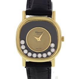 Chopard Happy Diamonds 5089/5 18K Yellow Gold & Leather Manual 25mm Womens Watch