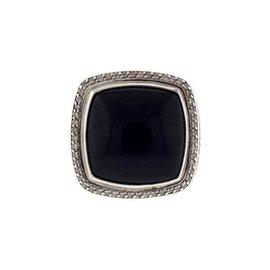 David Yurman 925 Sterling Silver Black Onyx Albion 0.33ct Diamond Ring Size 10