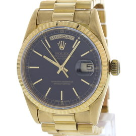 Rolex Day-Date 18238 18K Yellow Gold Black Dial Automatic 36mm Mens Watch