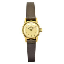 Omega Geneve Gold Plated / Leather with Gold Dial 18mm Womens Watch