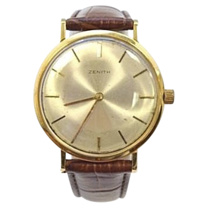 "Image of ""Vintage Zenith Gold & Leather Silver Dial Manual 33mm Mens Watch"""