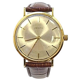 Vintage Zenith Gold & Leather Silver Dial Manual 33mm Mens Watch
