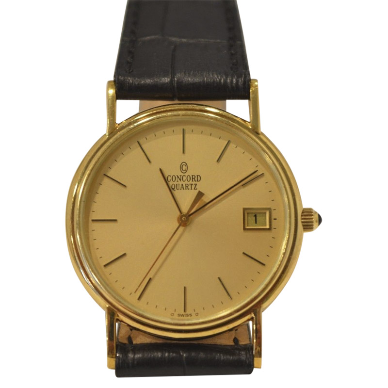 "Image of ""Concord 14K Yellow Gold / Leather with Champagne Gold 33mm Mens Watch"""