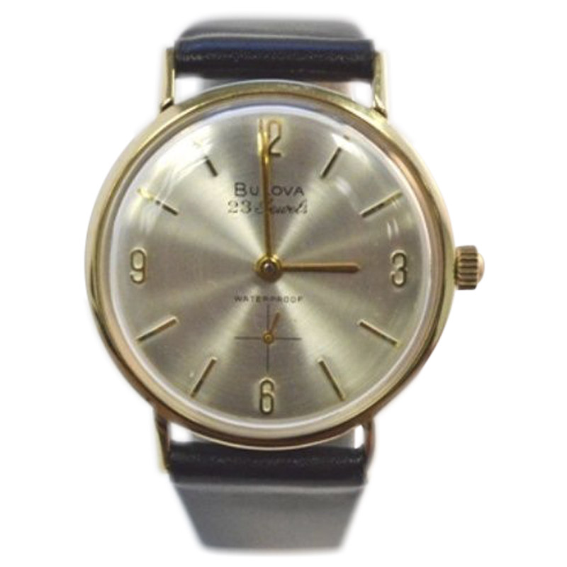 "Image of ""Bulova 14K Yellow Gold / Leather with Silver Dial Vintage 32mm Mens"""