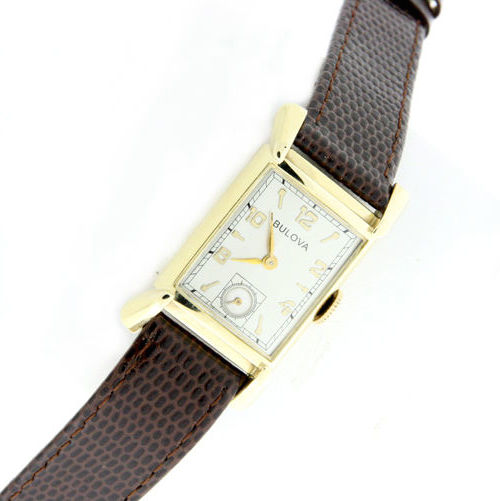 "Image of ""Bulova 14K Yellow Gold / Leather Vintage 20mm Unisex Watch"""