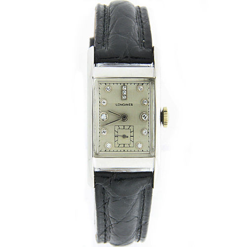 "Image of ""Longines 14K White Gold Diamond 20mm Mens Watch 1940"""