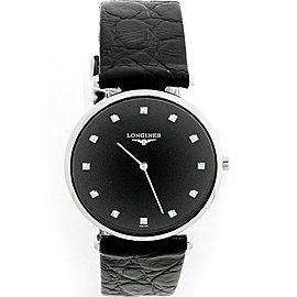 Longines La Grande Classique Stainless Steel Diamond Black Dial 23mm Womens Watch