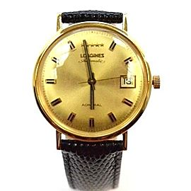 Longines Admiral 18K Yellow Gold Automatic 34mm Mens Vintage Watch