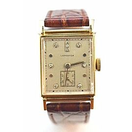 Longines 14K Yellow Gold Diamond Dial Dress 23mm Mens Vintage Watch