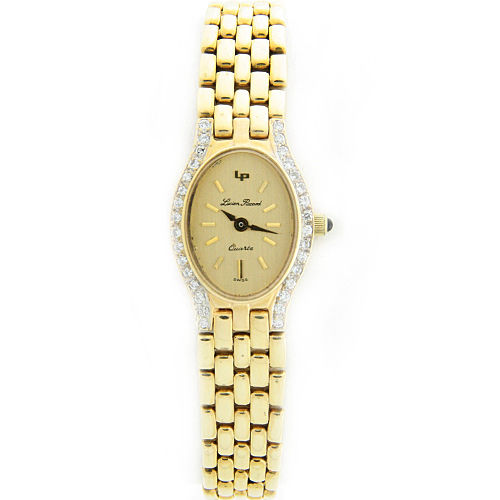 "Image of ""Lucien Piccard 14K Yellow Gold Diamond Quartz 17mm Womens Watch"""