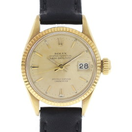 Rolex Datejust 6517 18K Yellow Gold & Leather Automatic 25mm Womens Watch