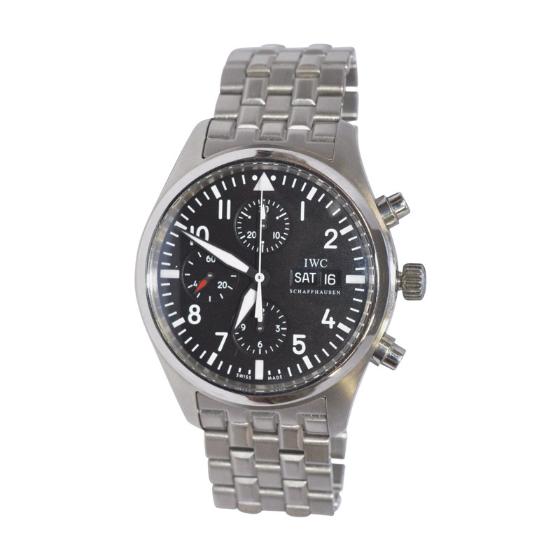 "Image of ""IWC Pilots Chronograph Black Dial Stainless Steel 42mm Mens Watch"""