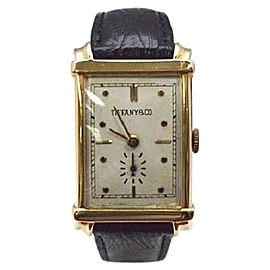 Tiffany & Co. 14K Yellow Gold Hand Wind Pink Markers 22mm Mens Vintage Watch