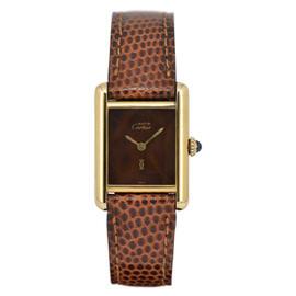 Cartier Must Tank Hand-Winding Gold Plated 28mm Womens Watch