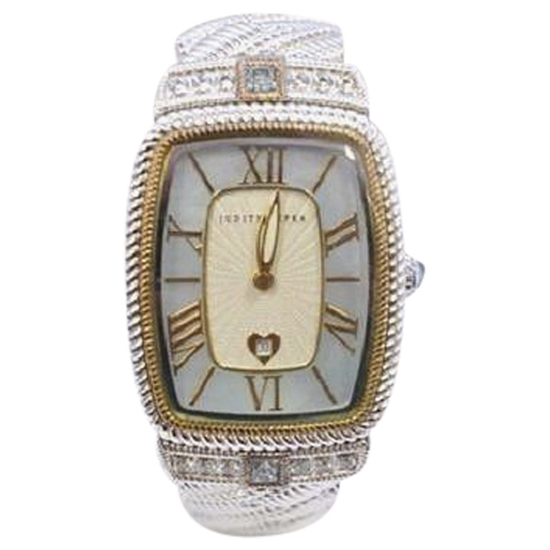 "Image of ""Judith Ripika Stainless Steel with Blue Mother of Pearl Dial with CZ"""