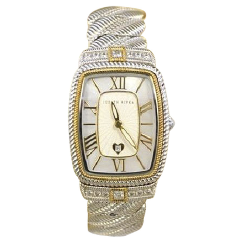 "Image of ""Judith Ripika Stainless Steel with Mother of Pearl Dial with CZ Accent"""