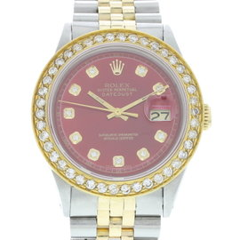 Rolex Oyster Perpetual Datejust 1601 18K Yellow Gold / Stainless Steel with Red Dial Vintage 36mm Mens Watch
