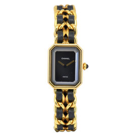 Chanel Premiere Gold Plated with Black Dial 20mm Womens Watch