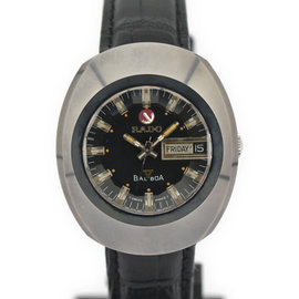 Rado Baolboa Stainless Steel, Tungsten & Leather with Black Dial 36mm Mens Watch