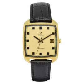 Omega Seamaster Gold Plated / Leather with Gold Dial 33.5mm Mens Watch