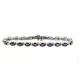 Effy 14K White Gold with Oval Blue Sapphire and DIamond Tennis Bracelet