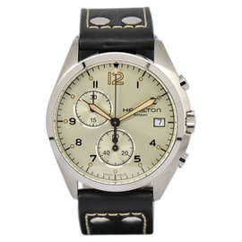 Hamilton Khaki Aviation Pilot H765120 Stainless Steel / Leather with Silver Dial 41mm Mens Watch