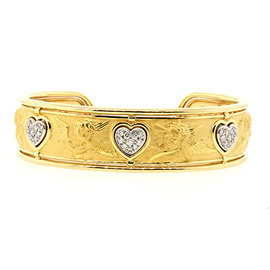 Carrera Y Carrera 18K Yellow Gold with Diamond Cherub Cuff Heart Ronda Bracelet