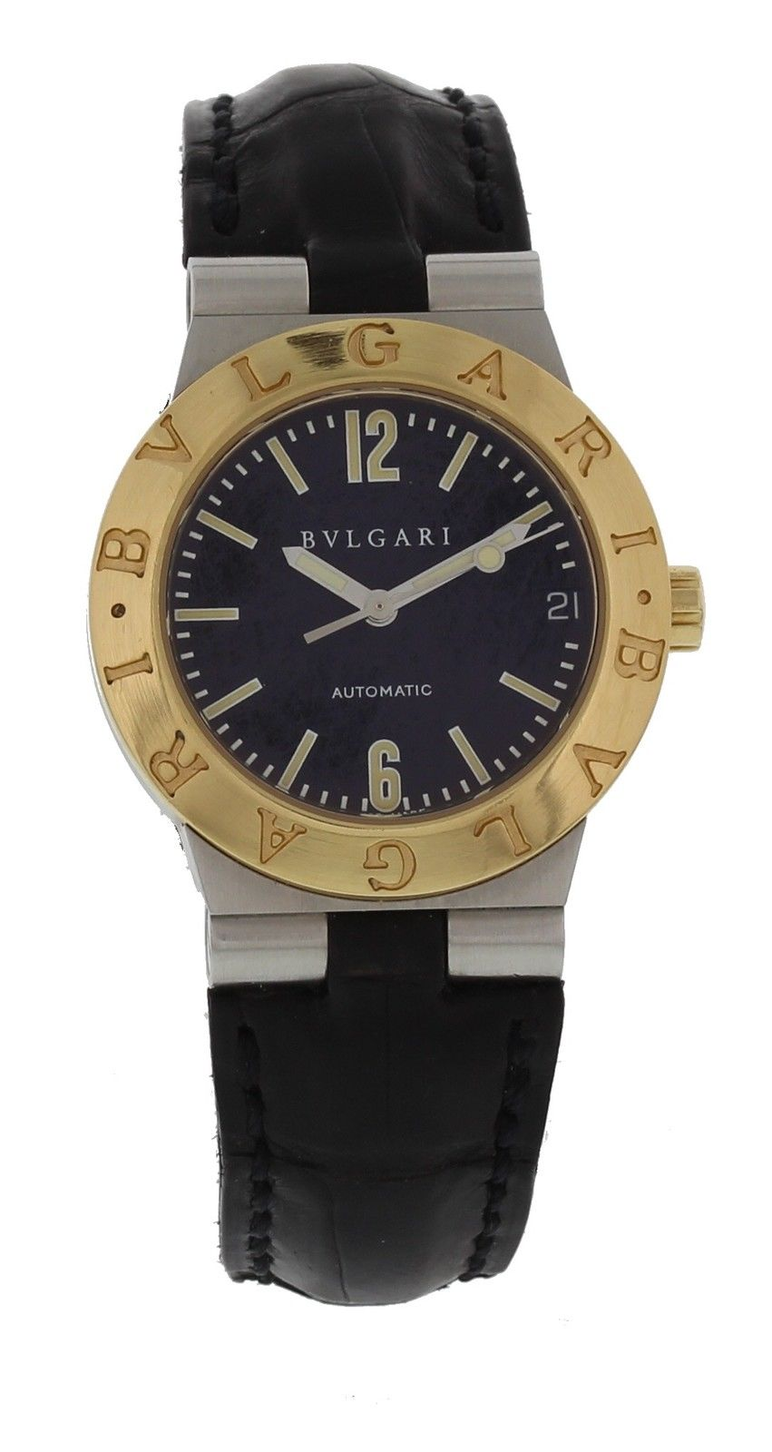 """Image of """"Bulgari Diagono Lc29S 18K Yellow Gold/Stainless Steel & Leather"""""""