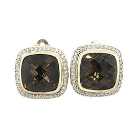 David Yurman 925 Sterling Silver and 18K Gold with Quartz and Diamond Stud Earrings