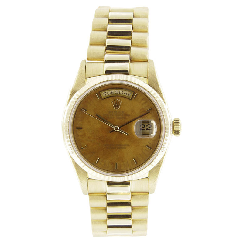 """Image of """"Rolex President 18038 18K Gold Wooden Dial 36mm Mens Watch"""""""