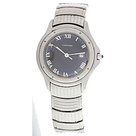 Cartier Panthere Cougar 987904 Stainless Steel Black Dial Quartz 35mm Mens Watch