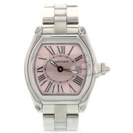 Cartier Roadster 2675 Stainless Steel Pink Dial Quartz 30mm Womens Watch