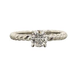 David Yurman Platinum and Diamond Solitaire Capri Engagement Ring Size 6.25