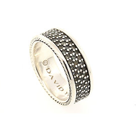 David Yurman 925 Sterling Silver with Gray Sapphire Mens Band Ring Size 11
