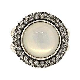 David Yurman 925 Sterling Silver Cerise Mother Pearl & Diamond Ring Size 5.75
