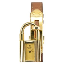 Hermes Kelly Watch Gold Plated / Leather 20mm Womens Watch