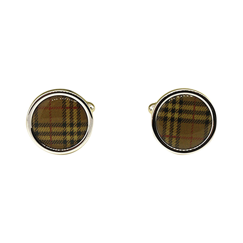 "Image of ""Burberry Brit Plaid Classic Twill Check Round Mens Cufflinks"""